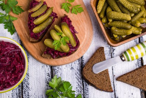 Beetroot appetizer with gherkins